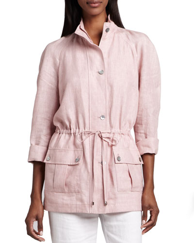 Neiman Marcus Linen Drawstring Jacket, Blush