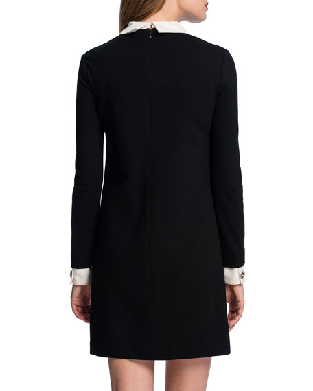 Long-Sleeve Collared Shift Dress