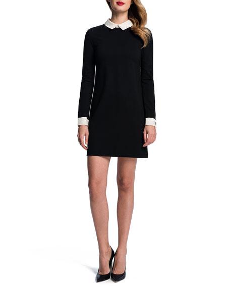 Long-Sleeve Collared Shift Dress