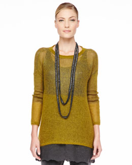 Eileen Fisher Plaited Mohair-Blend Jewel-Neck Tunic, Petite