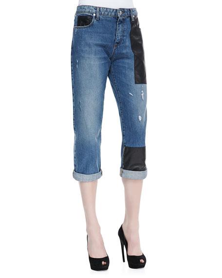 Faux-Leather-Patched Boyfriend Jeans, Indigo