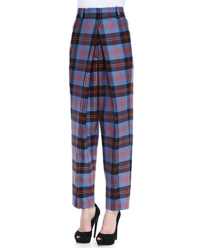 McQ Alexander McQueen Inverted-Pleat Plaid Tartan Trousers