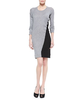 McQ Alexander McQueen Knit Swirl-Colorblock Sweater Dress