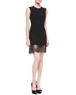 McQ Alexander McQueen Crepe Lace-Bottom Sleeveless Dress