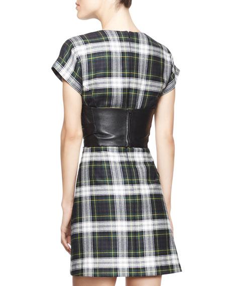 Cap-Sleeve Tartan Corset Dress