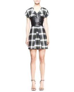 McQ Alexander McQueen Cap-Sleeve Tartan Corset Dress
