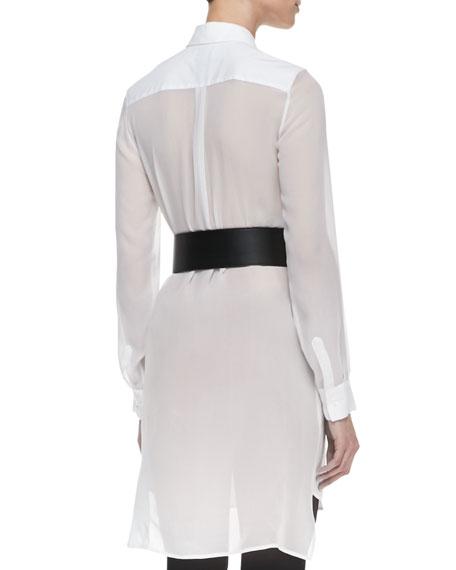 Poplin & Sheer Long-Sleeve Shirtdress