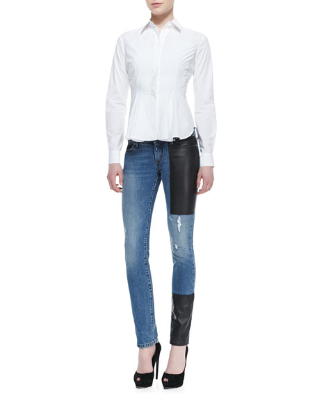 Faux-Leather Patch Skinny Jeans