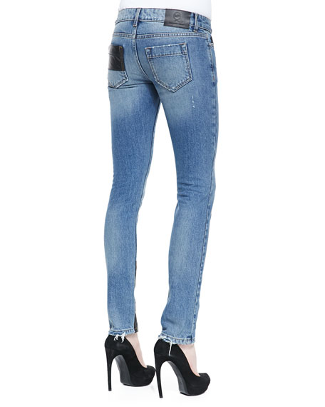 McQ Alexander McQueen Faux-Leather Patch Skinny Jeans