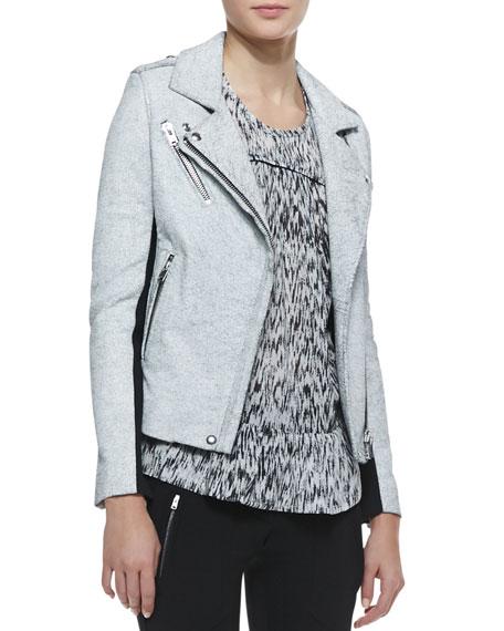 Ilaria Crackled Leather/Wool Jacket
