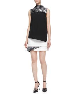 Helmut Lang Resid Printed Layered Crepe Dress