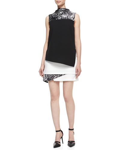 Helmut Lang Resid Printed Layered Crepe Dress