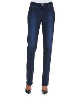 Christopher Blue Madison Straight-Leg Luxe Denim Jeans, Draper