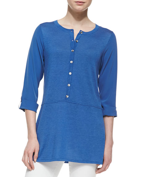 Silk-Cotton Tab-Sleeve Tunic