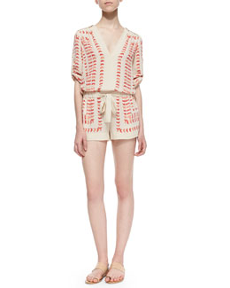 BCBGMAXAZRIA Soren Three-Quarter-Sleeve Arrow-Print Romper, Powder Combo