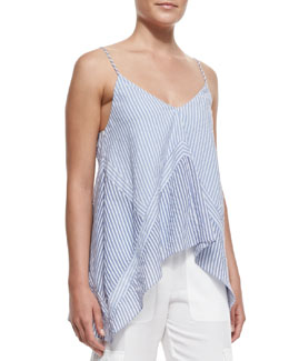 BCBGMAXAZRIA Cora Blocked High-Low Tank Top