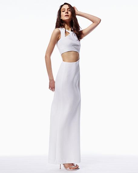 Kimora Cutout Sleeveless Crepe Gown, White