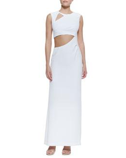 BCBGMAXAZRIA Kimora Cutout Sleeveless Crepe Gown, White