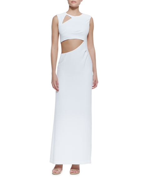 Kimora Cutout Sleeveless Crepe Gown, White