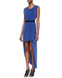 BCBGMAXAZRIA Evelyn Draped High-Low Dress