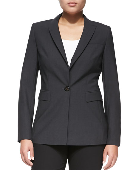 One-Button Crepe Blazer, Gray, Women's