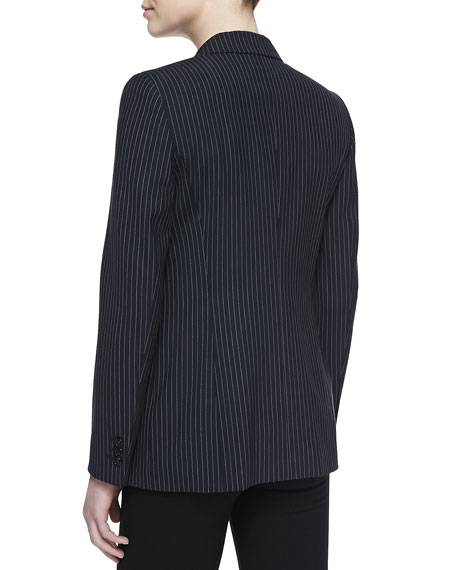 Pinstripe One-Button Blazer