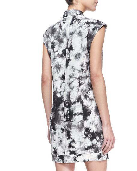 Aldrin Tie-Dye Moto Shift Dress, Black/White (Stylist Pick!)