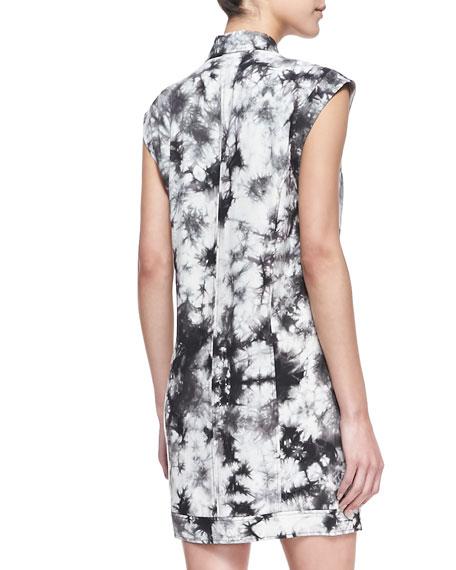 Aldrin Tie-Dye Moto Shift Dress, Black/White (Stylist Pick!)