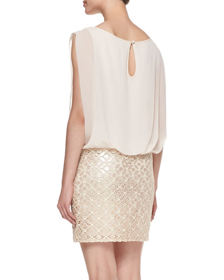 Sleeveless Blouson-Bodice Cocktail Dress