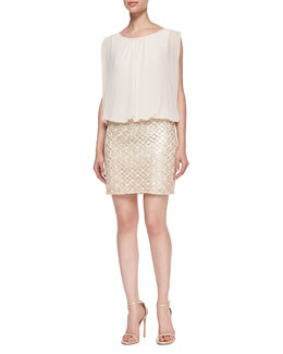 Aidan by Aidan Mattox Sleeveless Blouson-Bodice Cocktail Dress