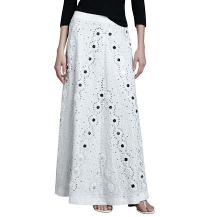 Neiman Marcus Mirrored Embellished A-line Skirt