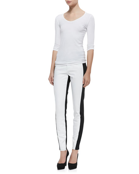 Aurora Two-Tone Leggings, Optic White/Black