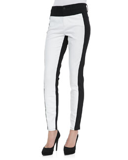 NYDJ Aurora Two-Tone Leggings, Optic White/Black