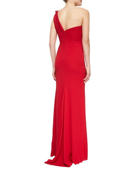 Draped One-Shoulder Column Gown