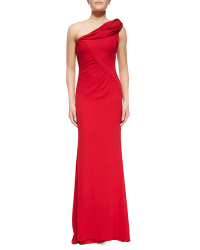 Badgley Mischka Collection Draped One-Shoulder Column Gown