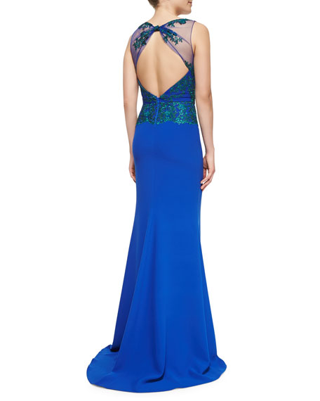 Sleeveless Open-Back Lace-Bodice Gown