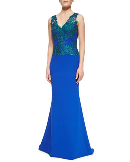 Badgley Mischka Collection Sleeveless Open-Back Lace-Bodice Gown
