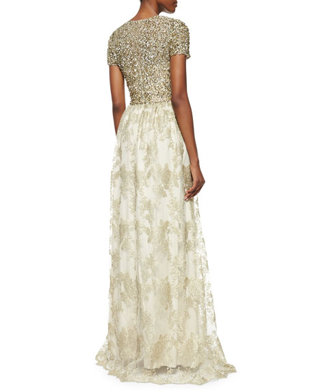 Short-Sleeve Sequin-Bodice Gown