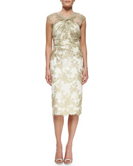 Badgley Mischka Collection Cap-Sleeve Lace Overlay Cocktail Dress