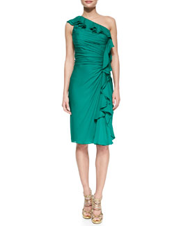 Badgley Mischka Collection One-Shoulder Ruffle Cocktail Dress