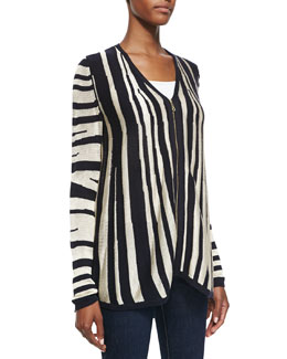 Minnie Rose Zebra Zip-Front Cardigan