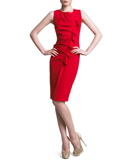 Neiman Marcus Gathered Asymmetric Dress