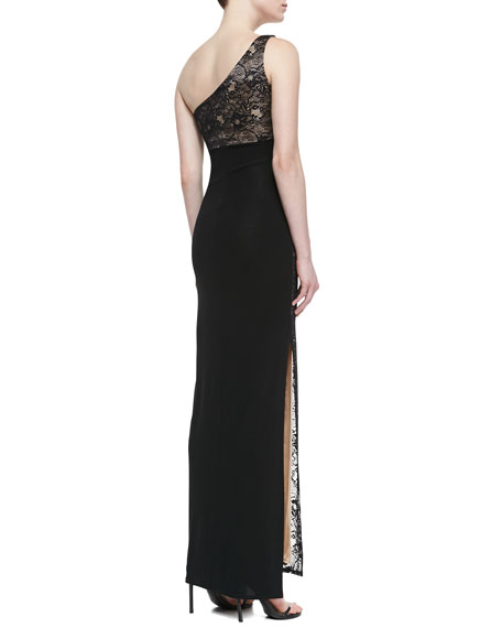 One-Shoulder Stretch Lace Gown, Black