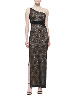 Laundry by Shelli Segal One-Shoulder Stretch Lace Gown, Black