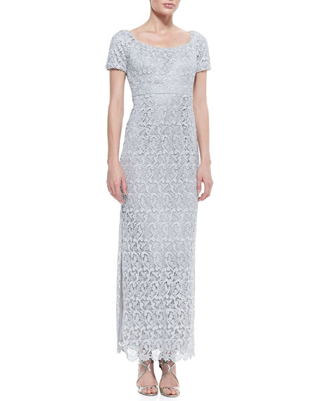 Short-Sleeve Lace Column Gown, Silver