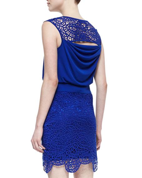 Sleeveless Lace Blouson Dress, Blue Beret