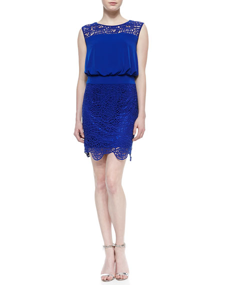 Sleeveless Lace Blouson Dress, Blue Beret