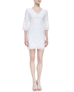 Laundry by Shelli Segal 3/4-Sleeve V-Neck Lace Dress, Optic White