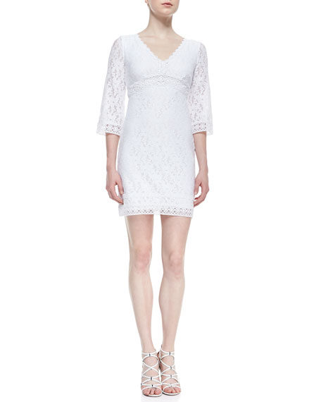 3/4-Sleeve V-Neck Lace Dress, Optic White