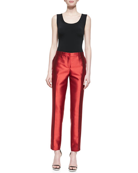 Samantha Slim Shantung Pants, Emerald